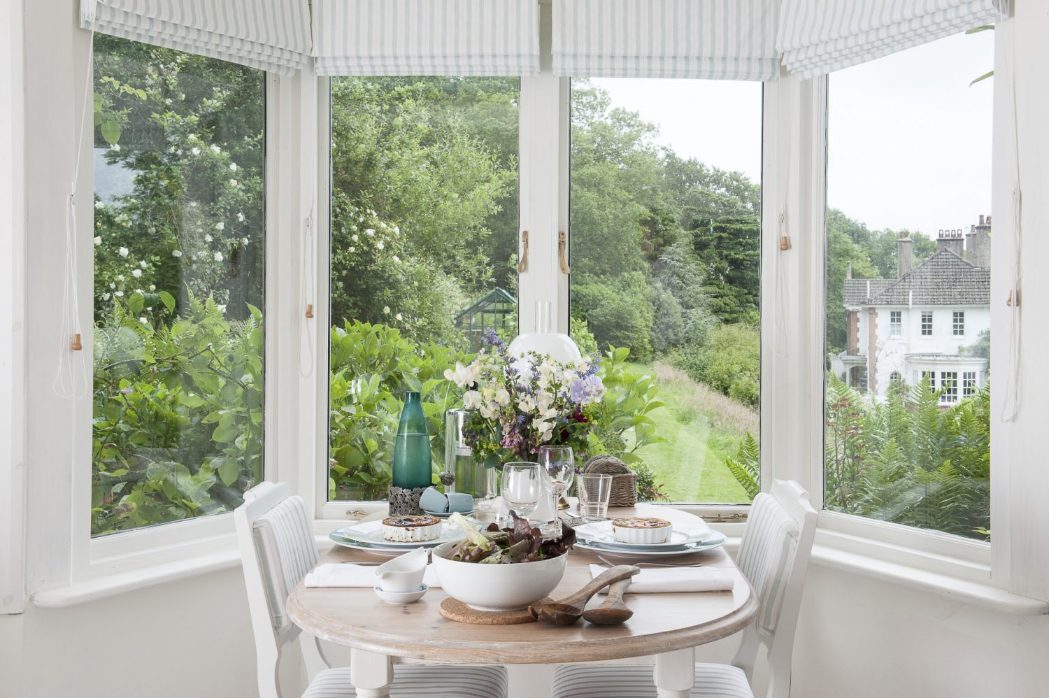 In the bay window is an intimate table for two she found at Mark Maynard in Tunbridge Wells