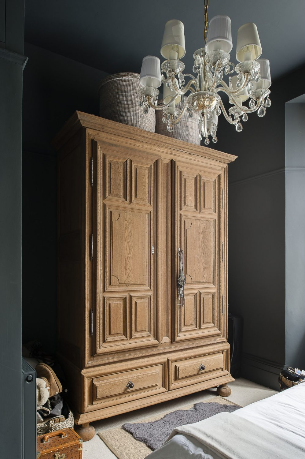 The huge armoire was a find from French Loft in Arundel