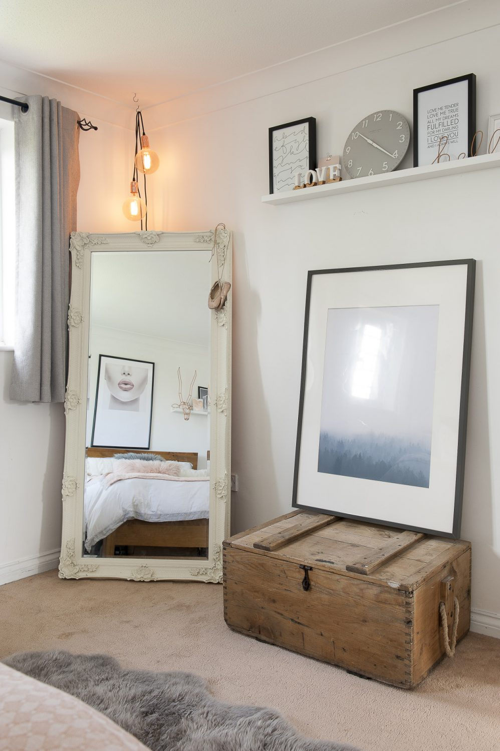 The large mirror in James and Lucinda's bedroom is from Hoopers in Tunbridge Wells, given to the couple as a house warming gift