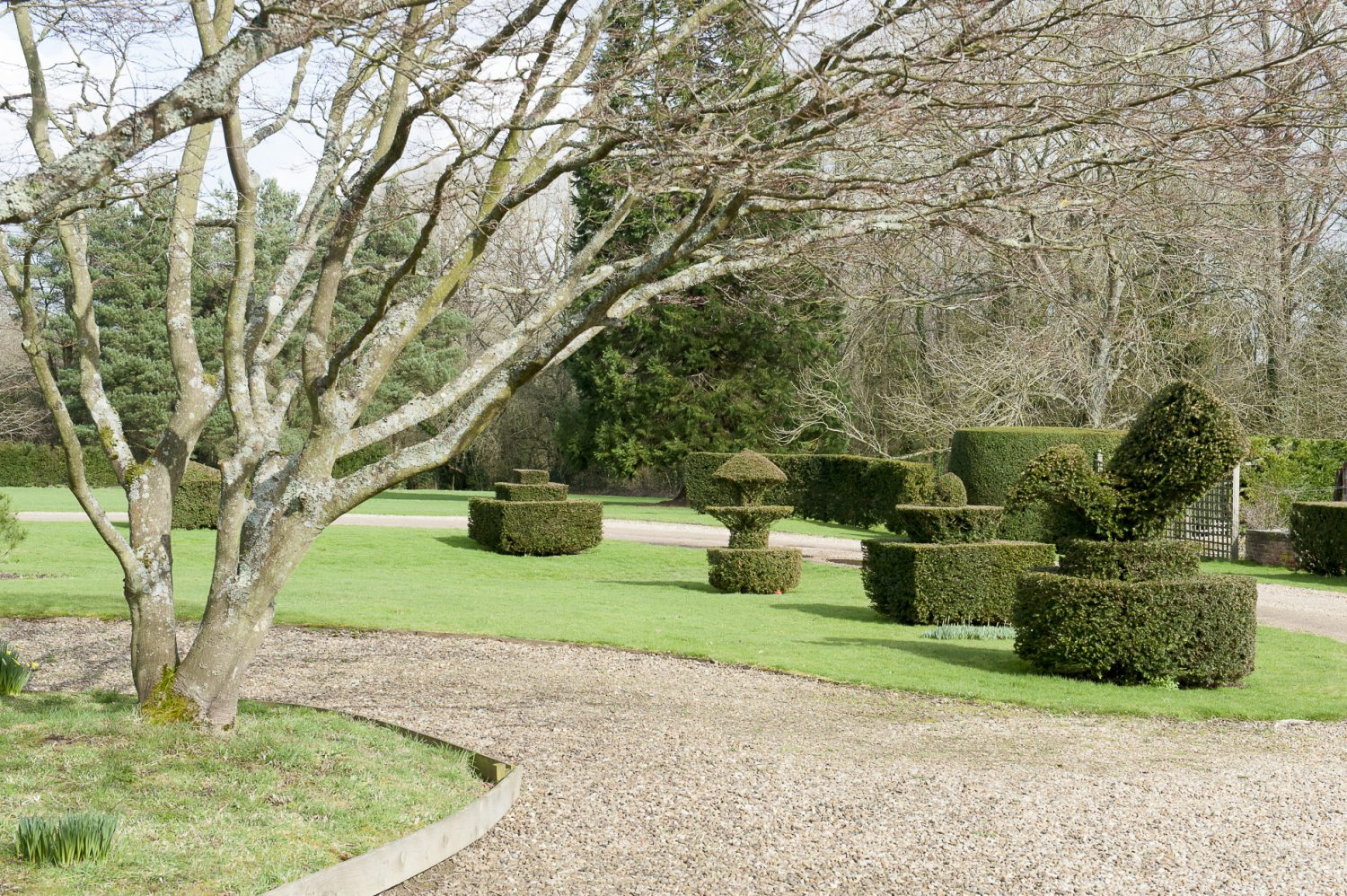 The garden is a dreamy combination of mature lawns, magnificent topiary and intimate spaces divided by box hedging and moss-covered walls