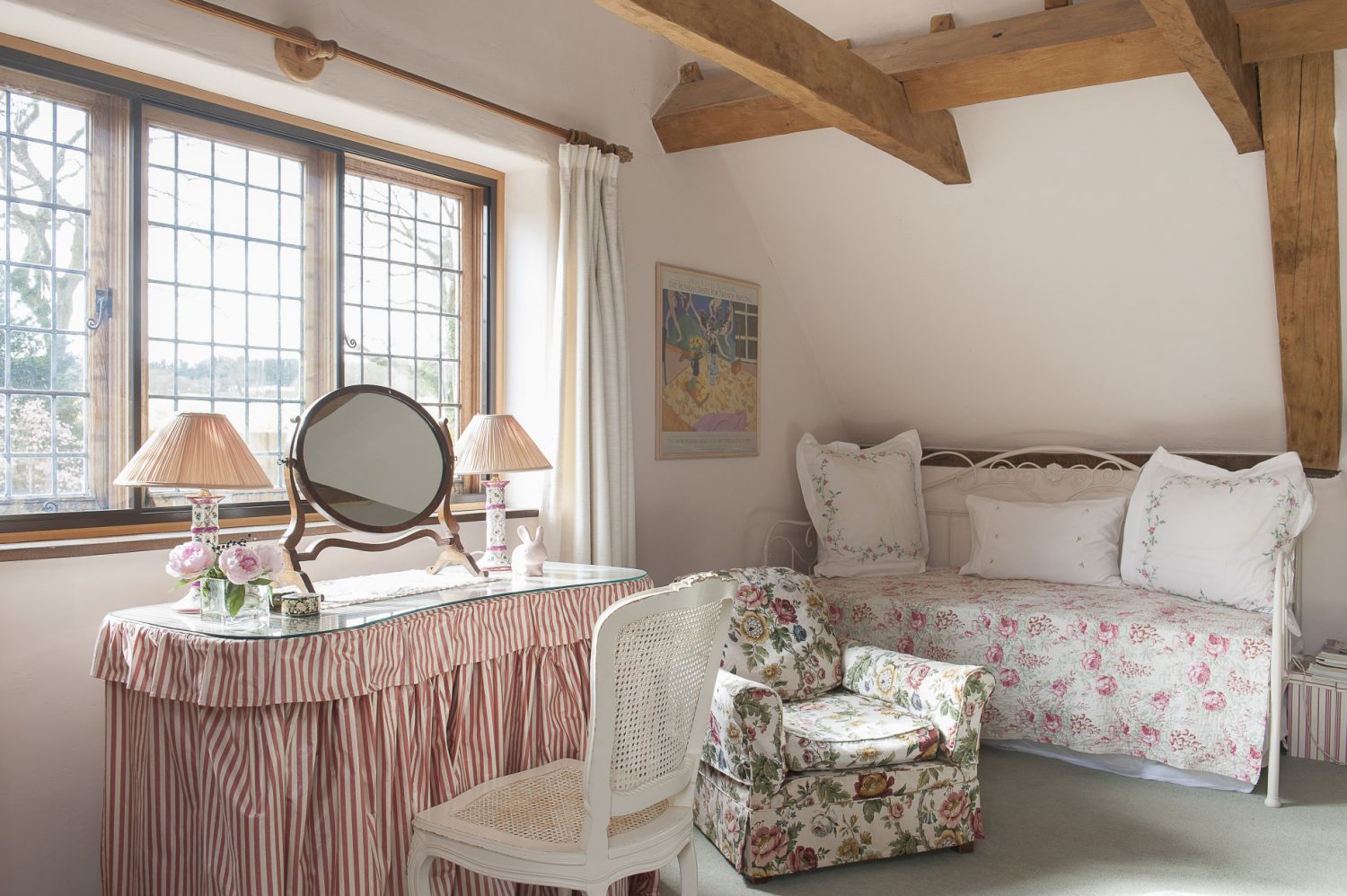 A large spare bedroom is on the top of the former kitchen wing