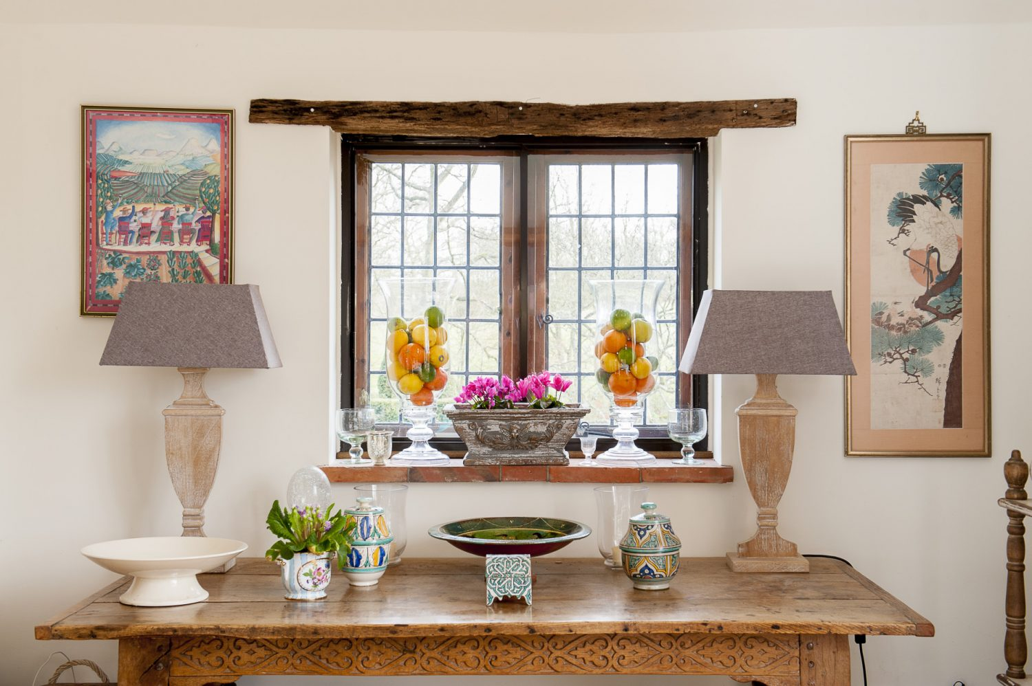 The new kitchen extension was built by Hurstway Construction. The lamps on the sideboard (above) came from one of the Wealden Times Fairs and the trough/planter in the middle of the windowsill is from Capital to Coast in Cranbrook