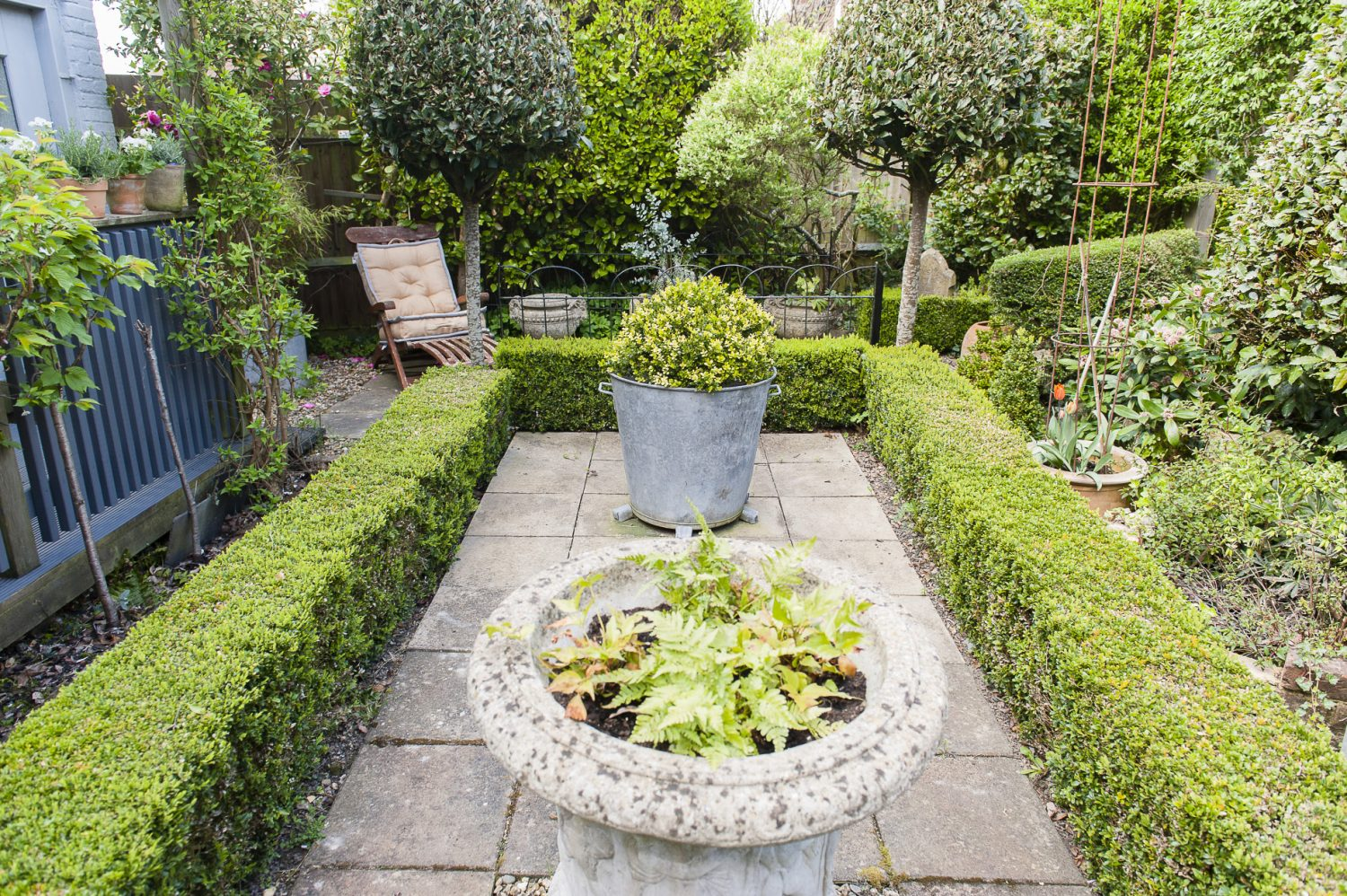 """Evergreen shrubs and topiary help to bring a chic, but verdant intimacy to the outdoor seating area. """"The advantage of using mainly evergreens is that I can rely on it being the same throughout the year. And then I can add seasonal colour in pots."""" In the winter the whole garden twinkles with fairy lights and makes a magical space to look out into."""