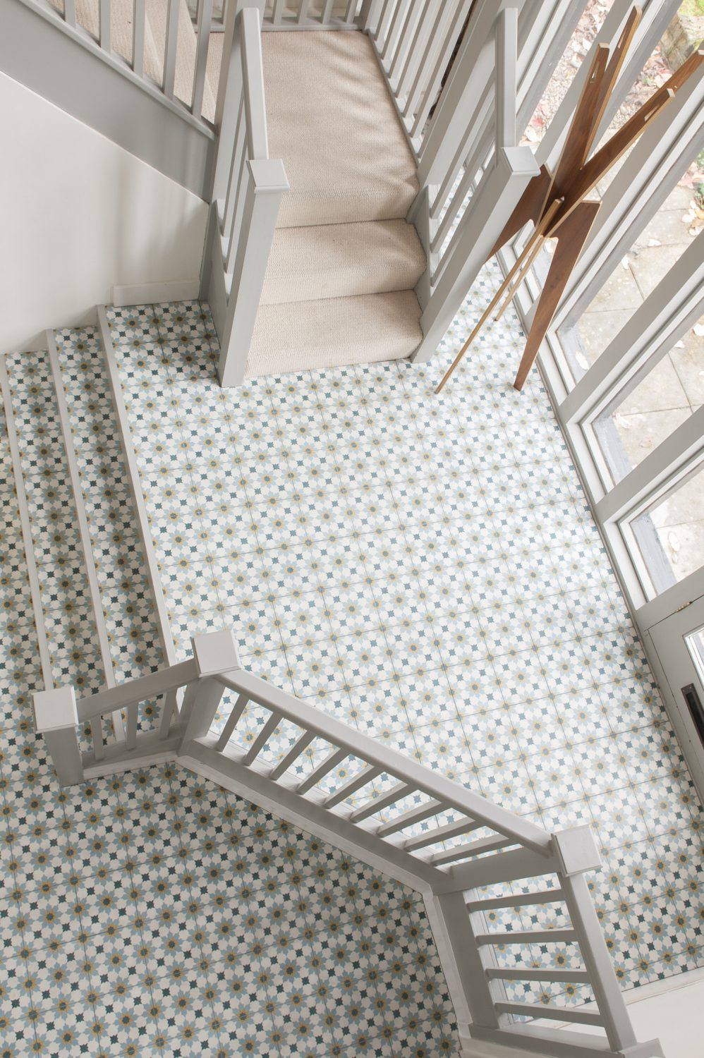 The entrance hall flooring tiles are by Ca'Pietra