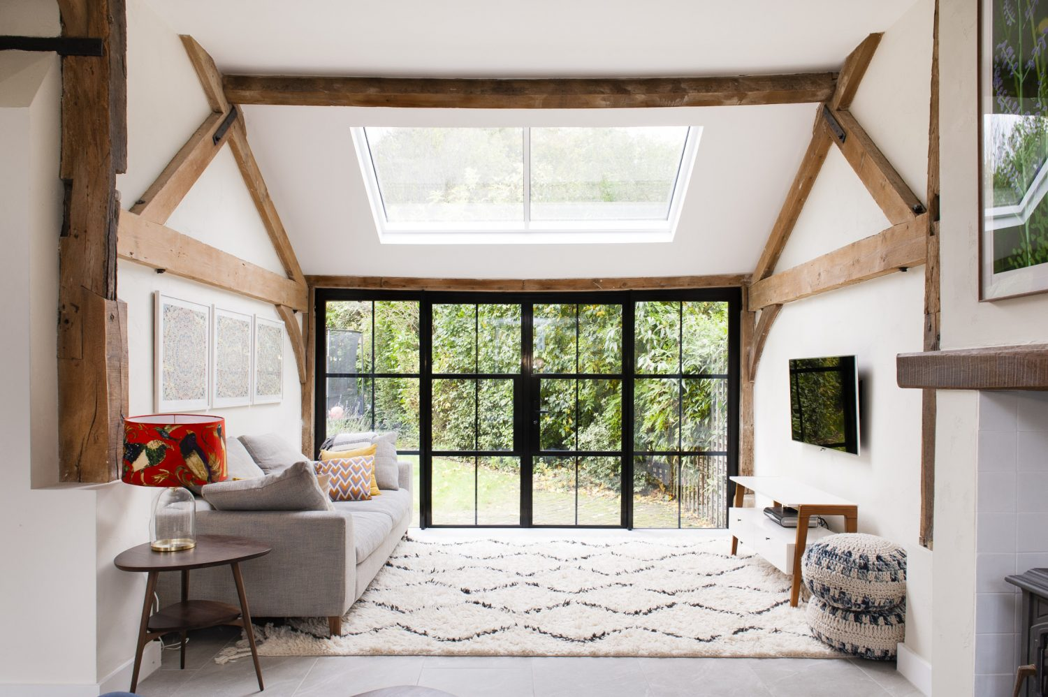 Richard and Tanya created the 'inside/outside' feeling they craved by glazing the entire southfacing back wall of the sitting room with 'Crittall-style' windows and French doors