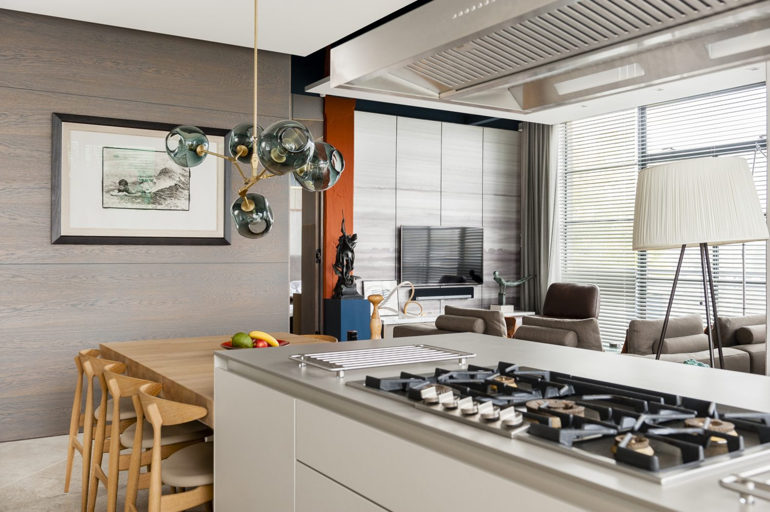 "The Bulthaup kitchen is deceptively large for a one bedroomed apartment. ""We had enough kitchen to go into a medium sized house, but it fits beautifully in this space,"" says Mike"