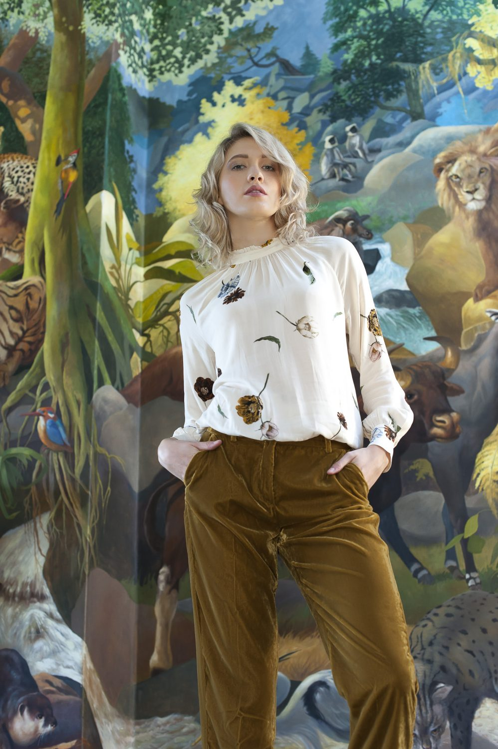Second Female floral print blouse, £81, 10 Feet mustard trousers, £110, Odyl, Cranbrook odyldesign.com