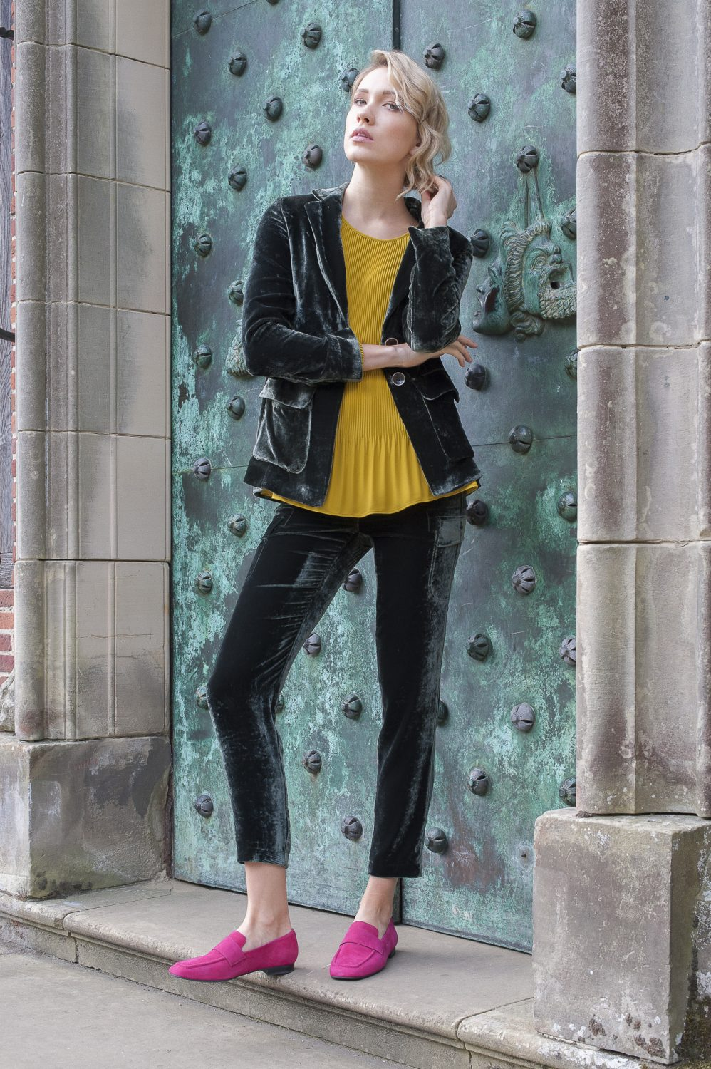 Luisa Cerano velvet jacket, £480, trousers, £290, pleated top, £199, Courtyard, Guildford courtyarduk.co.uk; pink loafers, £80, Vagabond vagabond.com