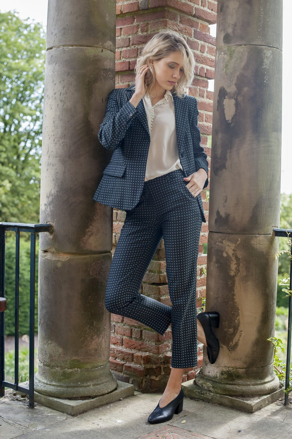 Weekend Maxmara Rosalba jacket, £269, matching Mincio trousers, £165, Dafne blouse, £109, Fenwick, Tunbridge Wells fenwick.co.uk; black heels, £85, Vagabond vagabond.com