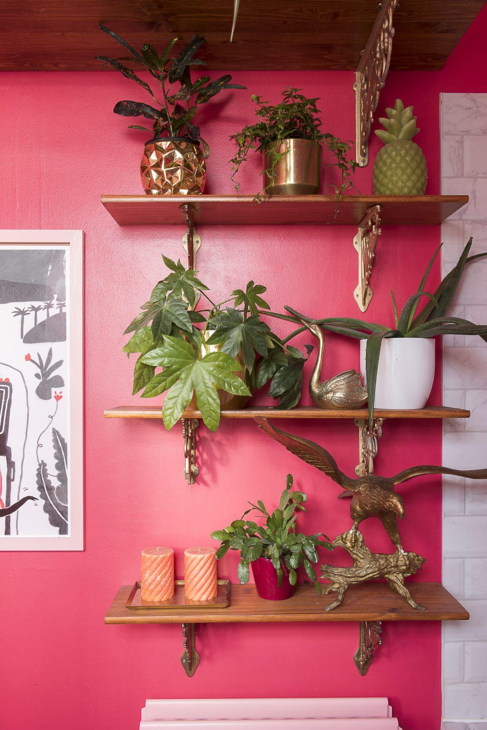 Amy has used ferns and evergreens to bring a slightly Victorian parlour overlay to the look of the bathroom, despite its bright pink walls