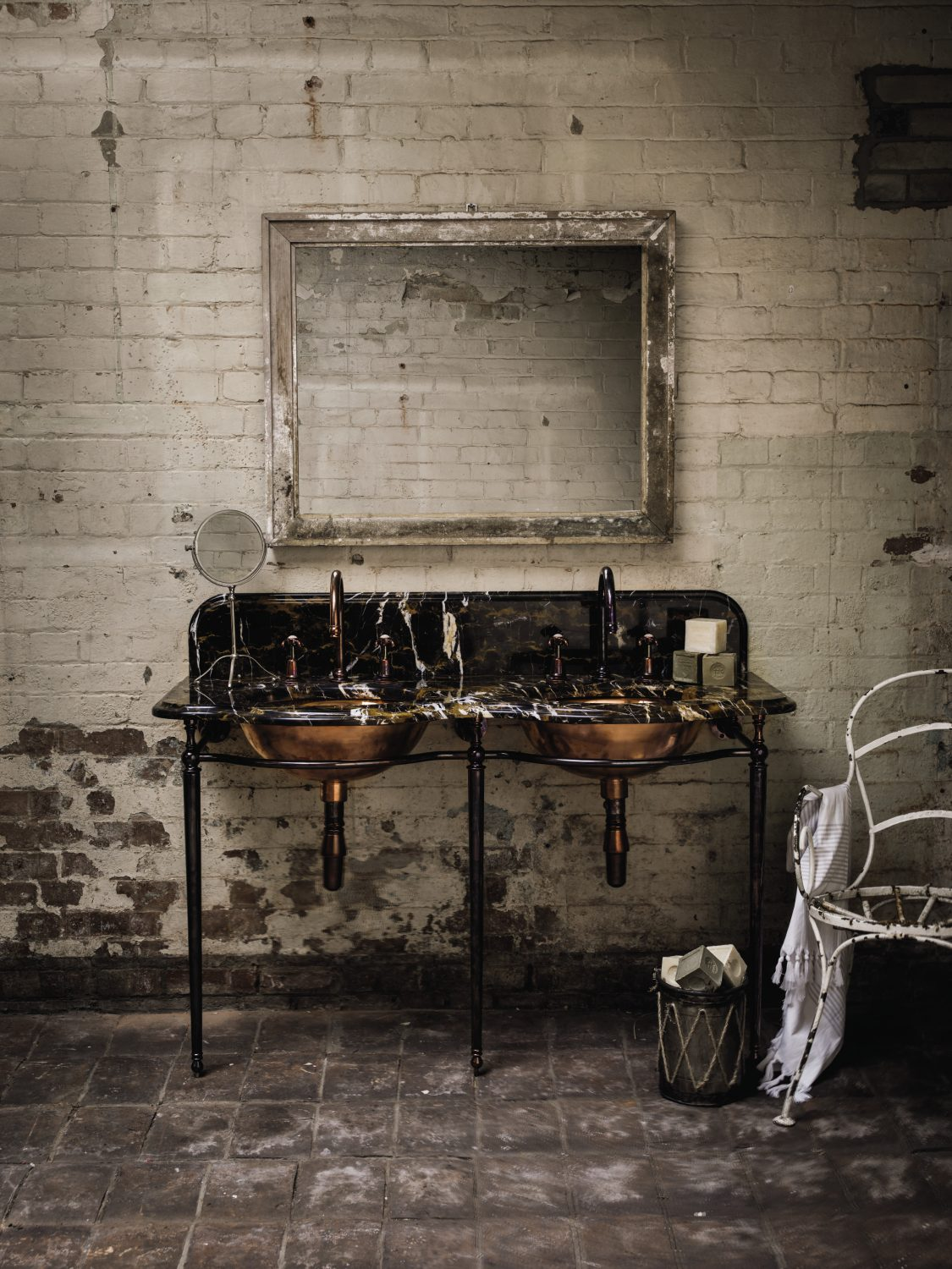 Warehouse Parisienne Double Washstand in Portoro marble with copper bowls (without taps) £4,998 inc. vat, Catchpole & Rye, catchpoleandrye.com