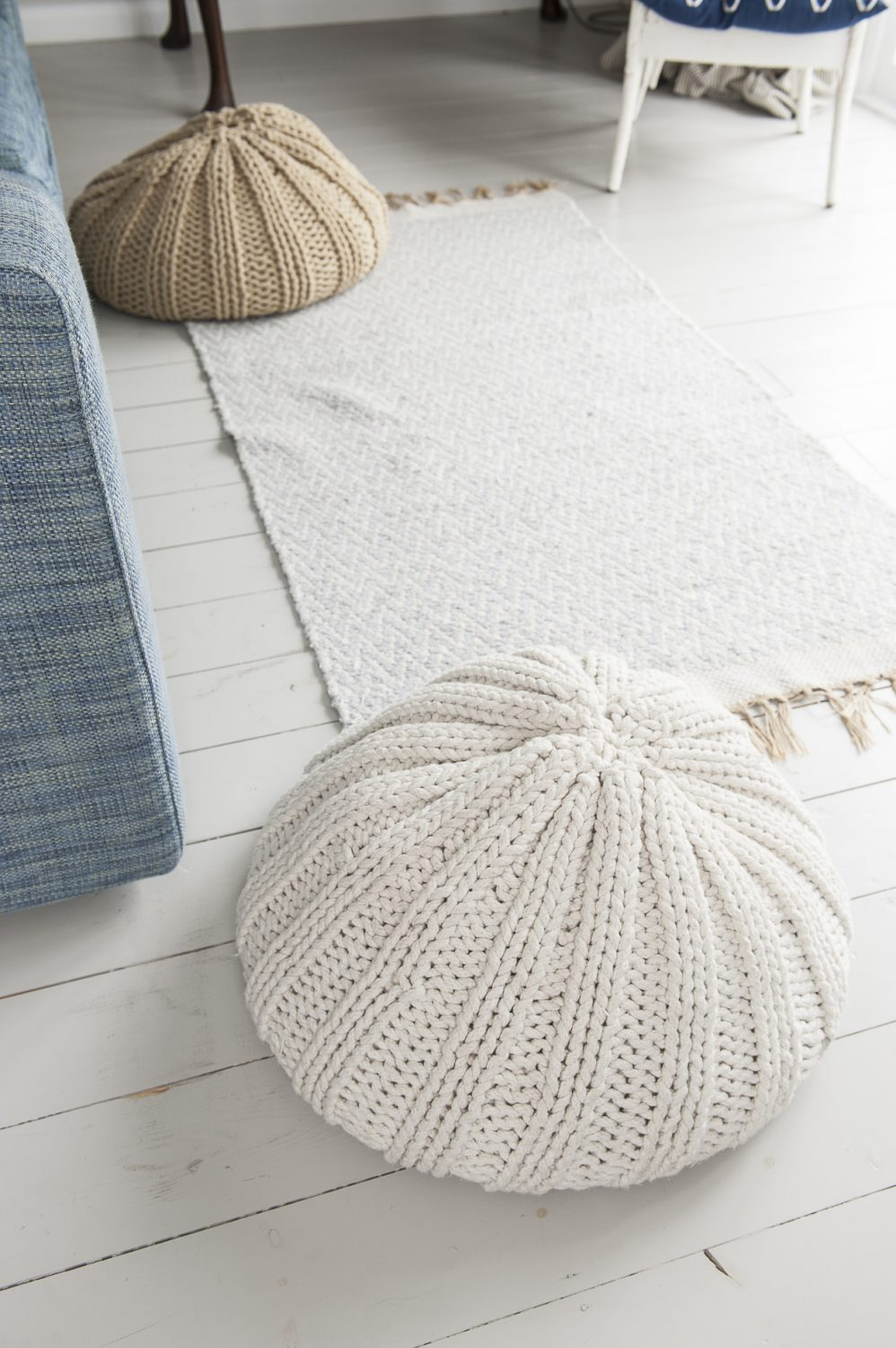 The knitted sea urchin poofs are from Dunelm