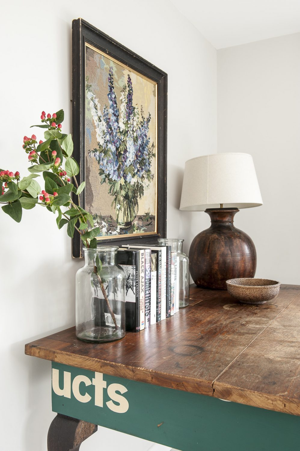 The vintage Conran Shop lamp and delphiniums tapestry are both from McCully & Crane