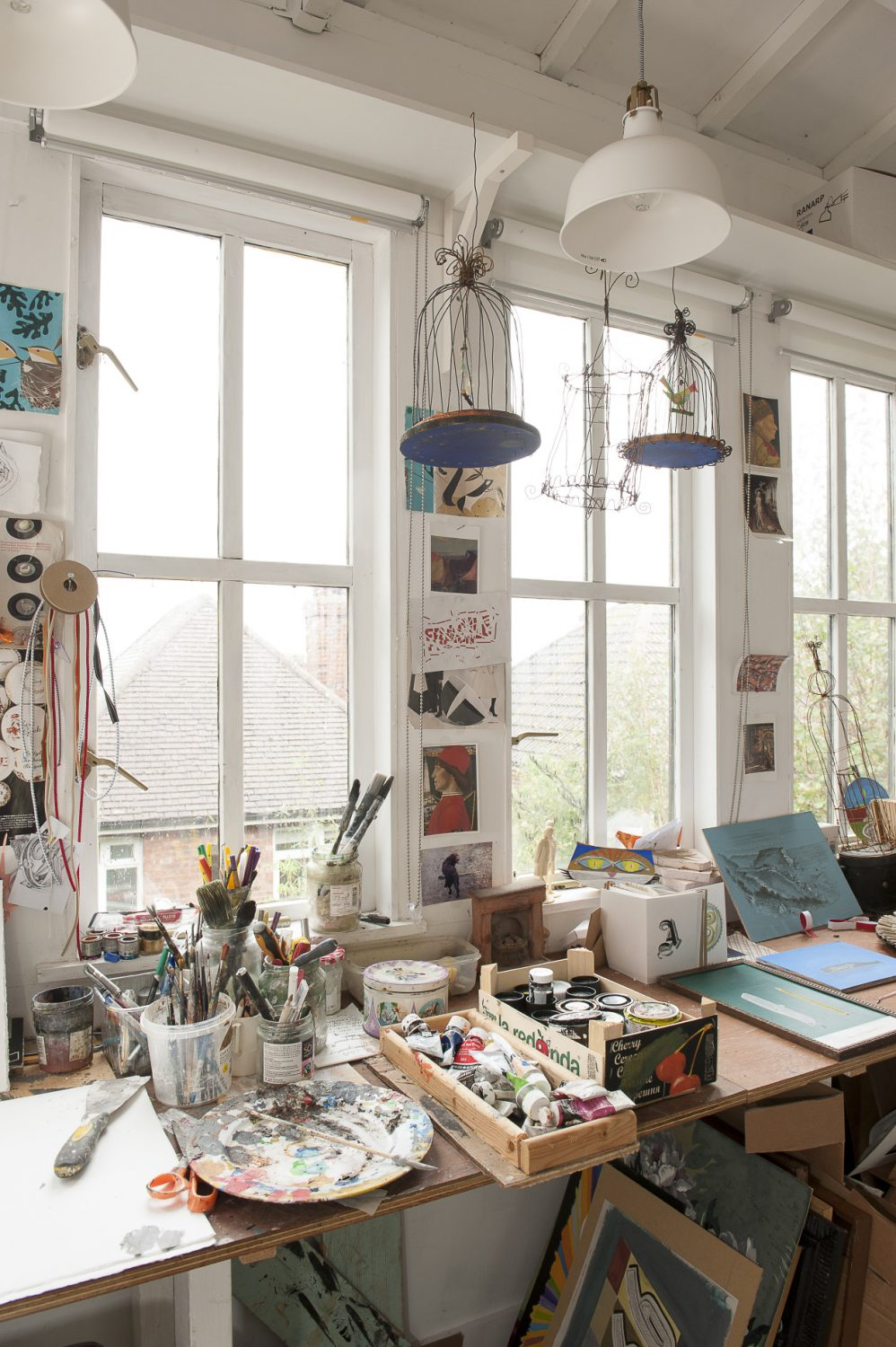 The studio is full of natural light