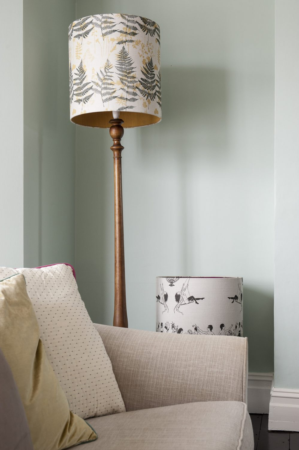 The lampshades in the sitting room are from the range Louise used to sell at Liberty, in her designs Autumn Leaves and Erotica, which was inspired by the work of Aubrey Beardsley