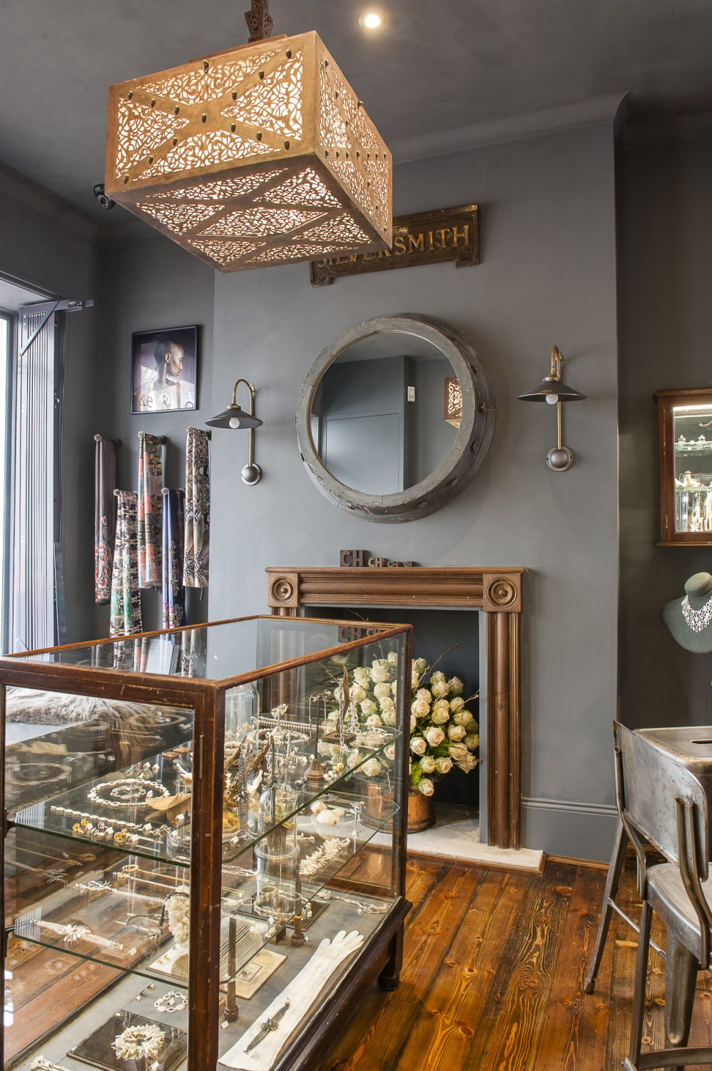 The display cases and counters are bespoke and were painstakingly sourced from all over the country