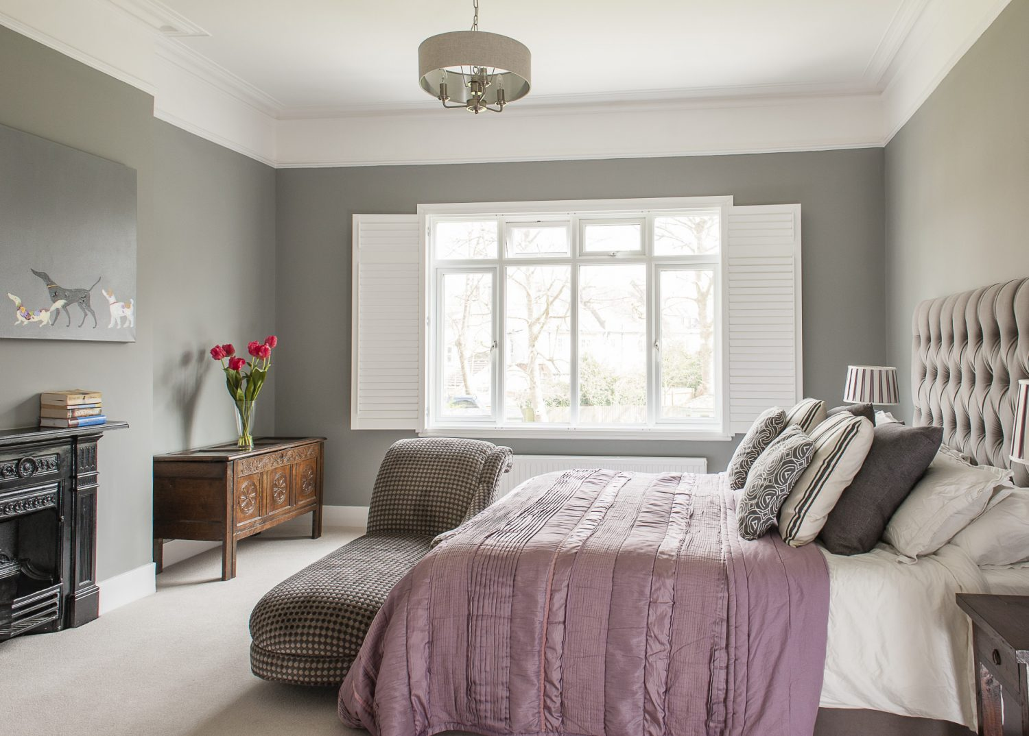 """""""We had first thought of making the whole top floor our domain,"""" says Catherine, """"but whatever way we looked at it we just couldn't make it work."""" The answer has been to remodel a bathroom and the next door former bedroom to create a master suite with both dressing room and bathroom"""