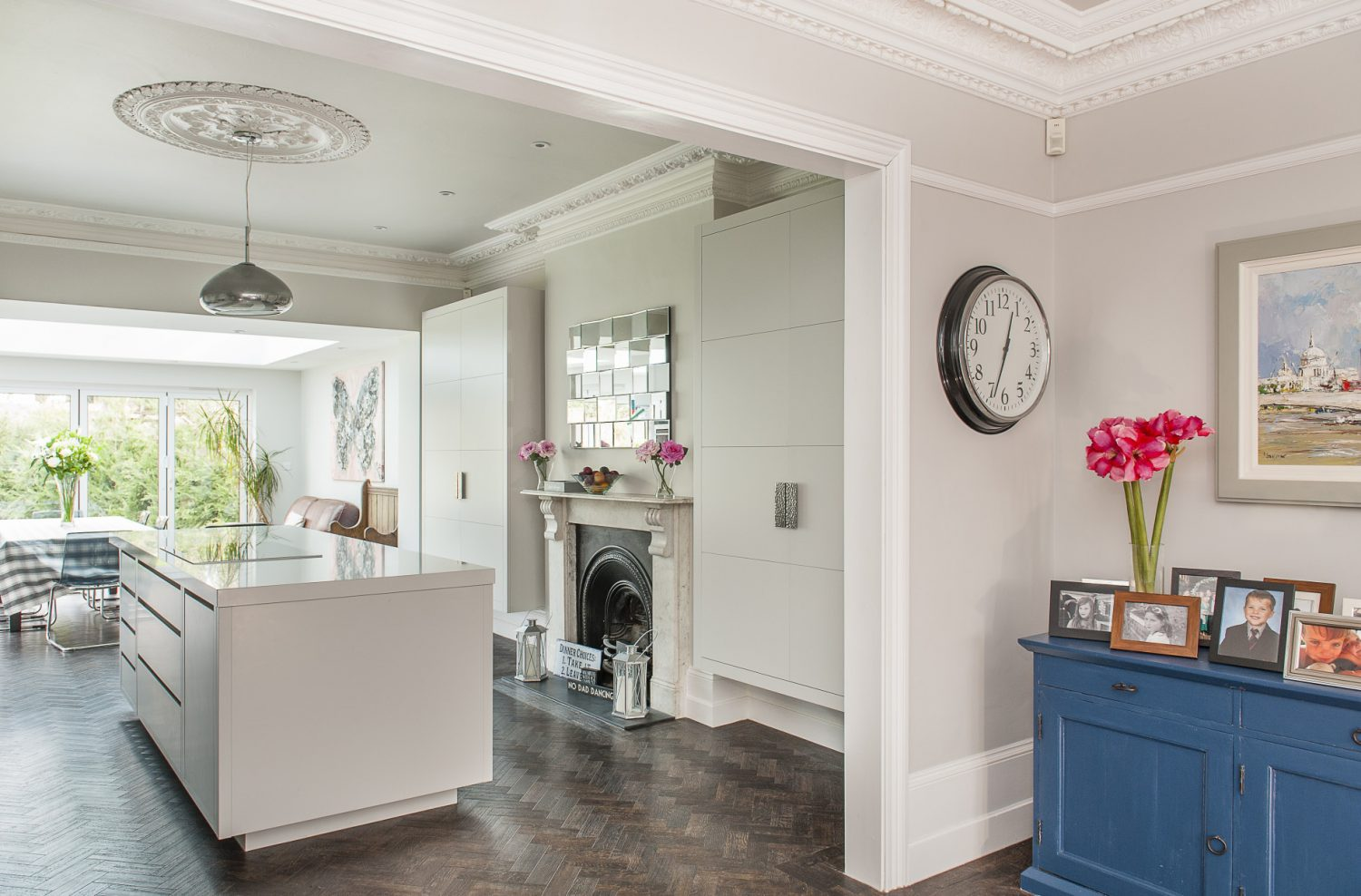 """The kitchen was designed and built by Chamber Furniture in Halstead. """"It's the first time I've had a bespoke kitchen in any of the properties we've had,"""" says Catherine. """"We've found that the best system when we're doing up a house while living in it is to tackle the kitchen last and we've always seemed to have exhausted the budget by then."""""""
