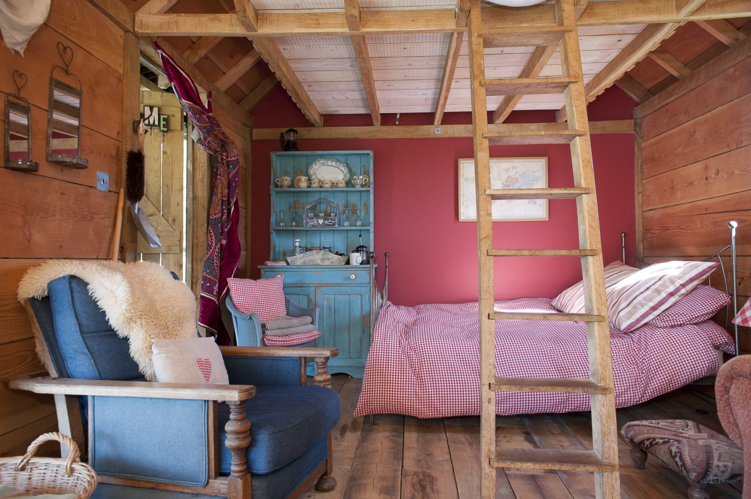 A mezzanine bed reached via a rustic ladder, above the main sleeping area, offers a fun place for children to sleep. When not lounging around, guests can fish – or cook themselves a full English breakfast on the deck – using ingredients from the farm