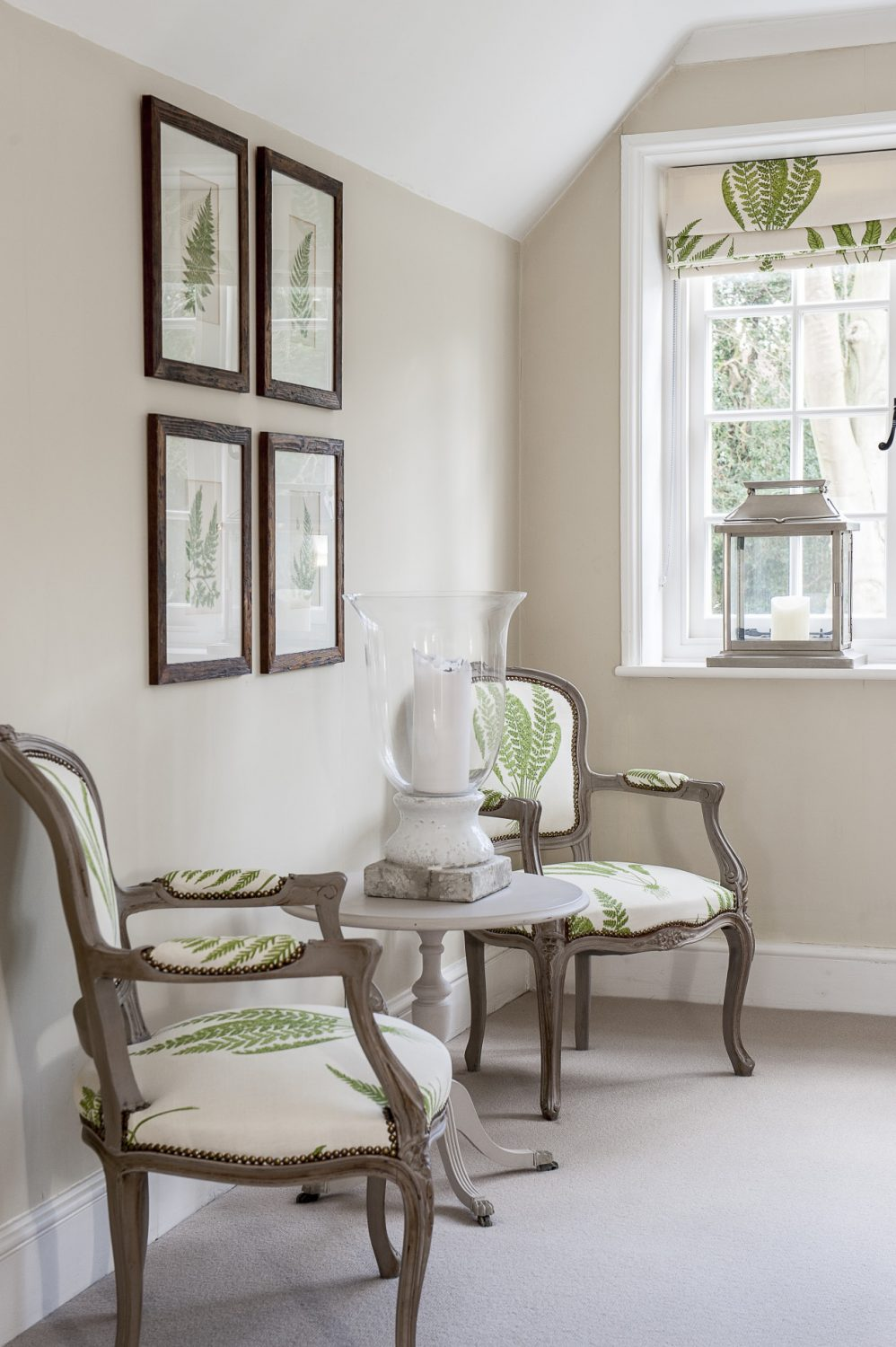 Sanderson fern fabric stands out against the muted colour scheme