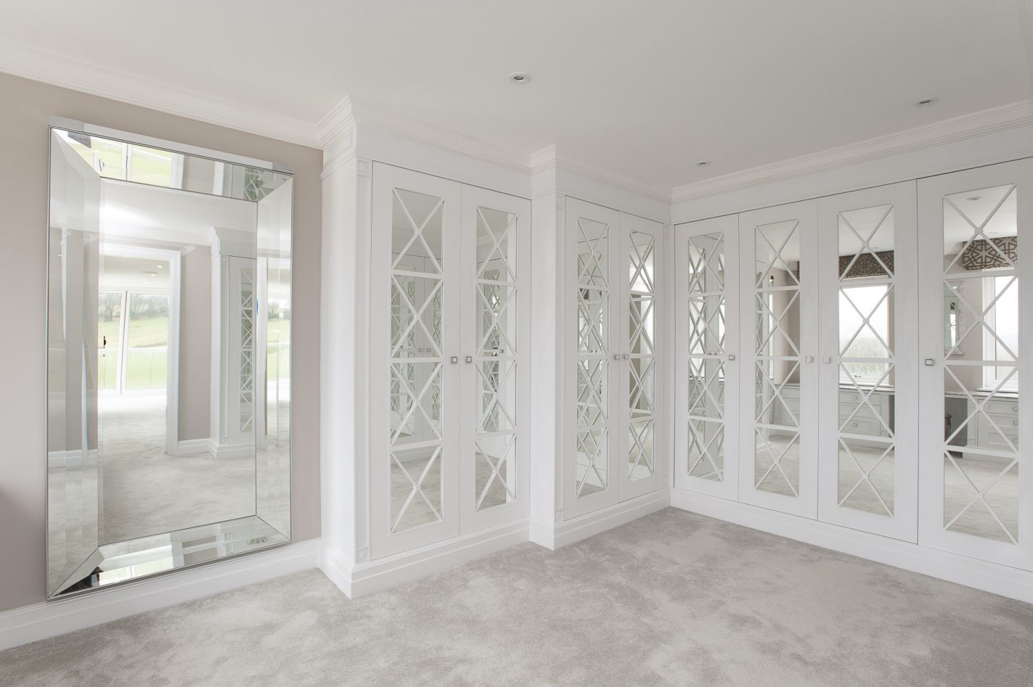 The mirrored dressing room