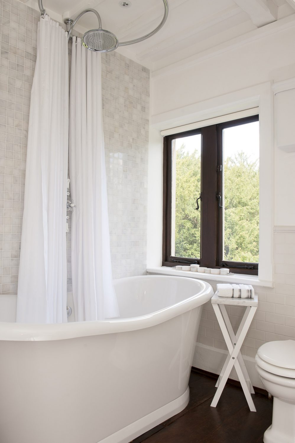 The roll top bath in the Victorian style bathroom