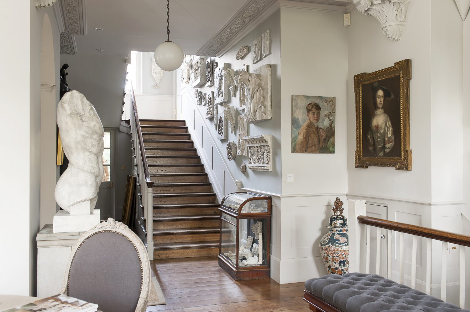 Ornate plasterwork, as well as being dotted around the house, dominates the stairwell and landing area at the heart of the house