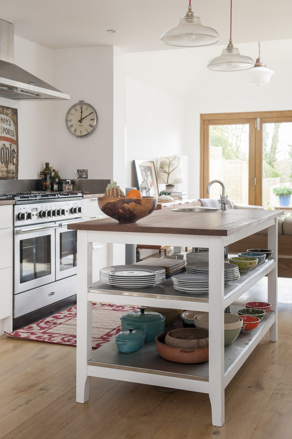 Being a caterer, Jen had very firm ideas of how she wanted the kitchen area to look and function so she designed the layout and then used Hastings craftsman Mark Tomlinson to make the units using Iroko wood sourced from school science labs