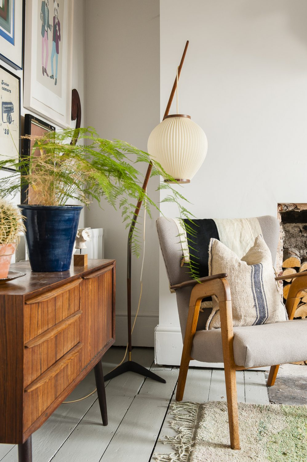 The sideboard in the studio is 1950s Danish by Hans Moebler, bought from designsofmodernity.com. The 'fishing rod' style lamp was a gift from two of the couple's closest friends, Andrew and Pip, who own Le Chien et Moi in Nottingham