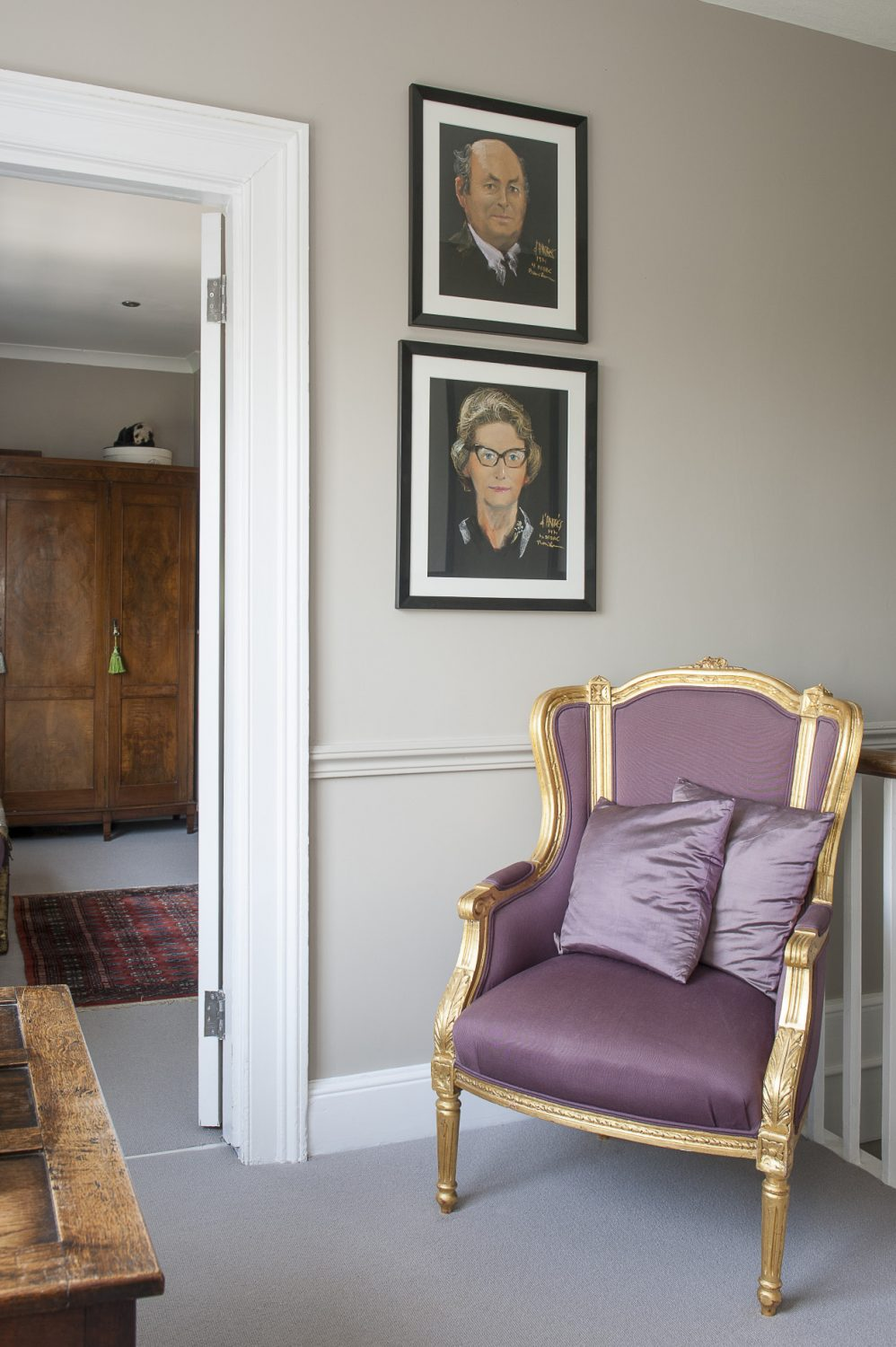 Chalk pastel depictions of Simon's grandparents, outside the master bedroom suite, add a personal touch