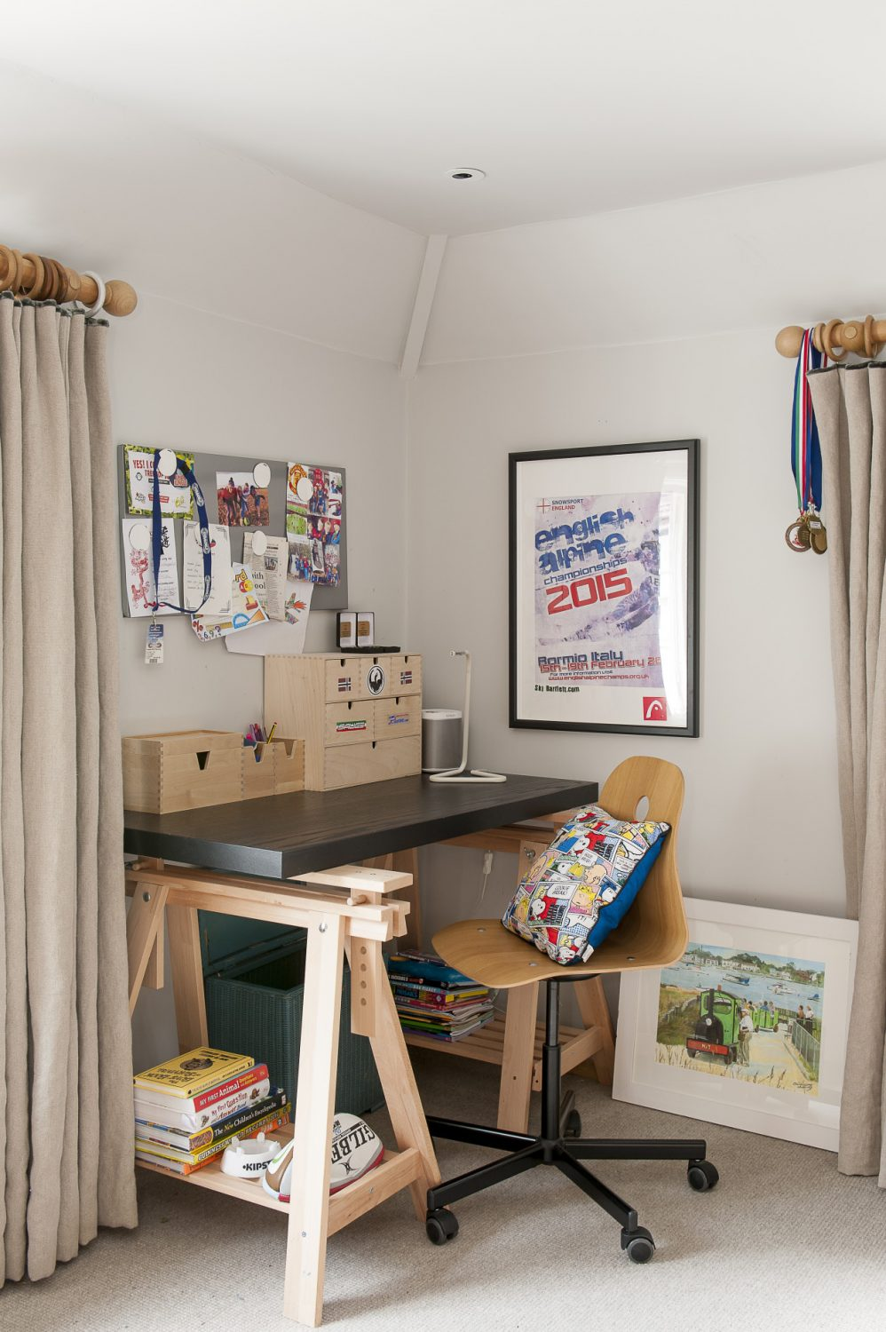 The boys' interest in skiing is evident in their bright and airy rooms