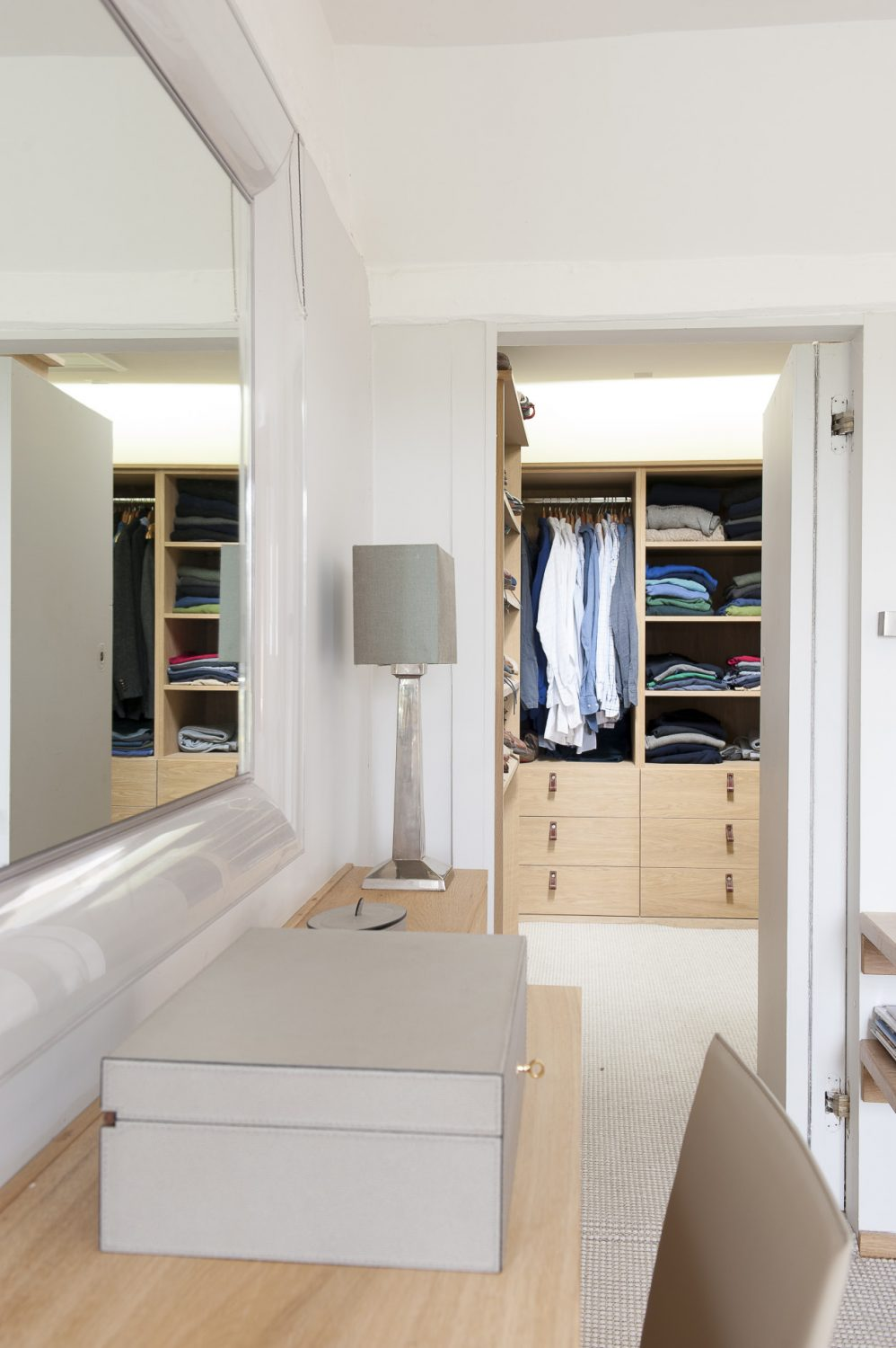 A view into the master bedroom's enviable dressing room