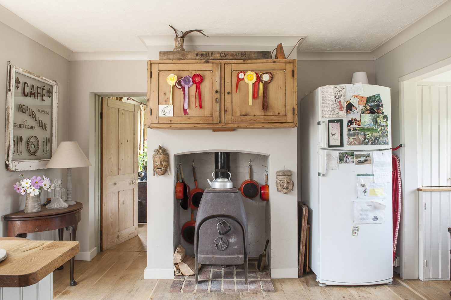 Daughter Liberty's riding rosettes are proudly on display in the kitchen