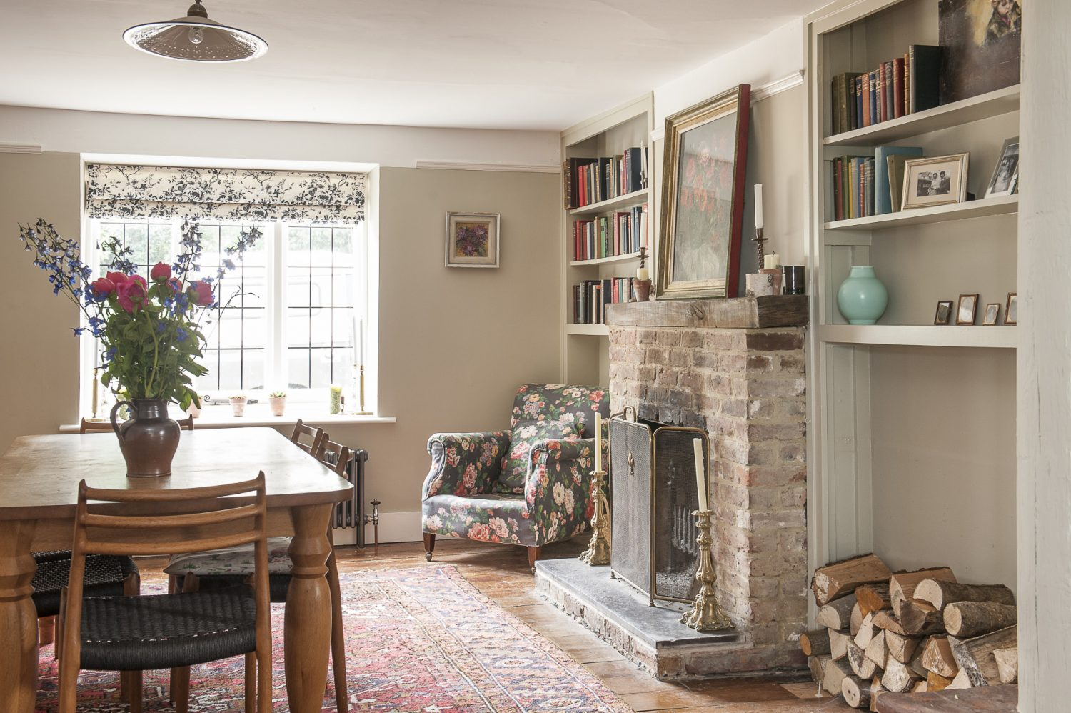 The spacious dining room was originally two rooms where the older and younger parts of the house met