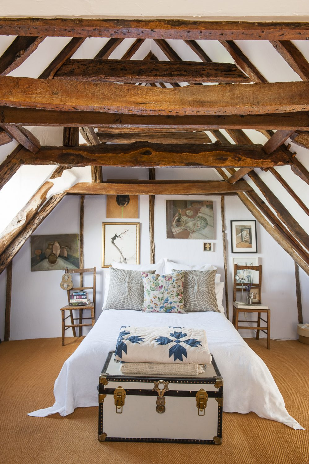 At the very top of the house is a vaulted spare bedroom with its own tiny en suite