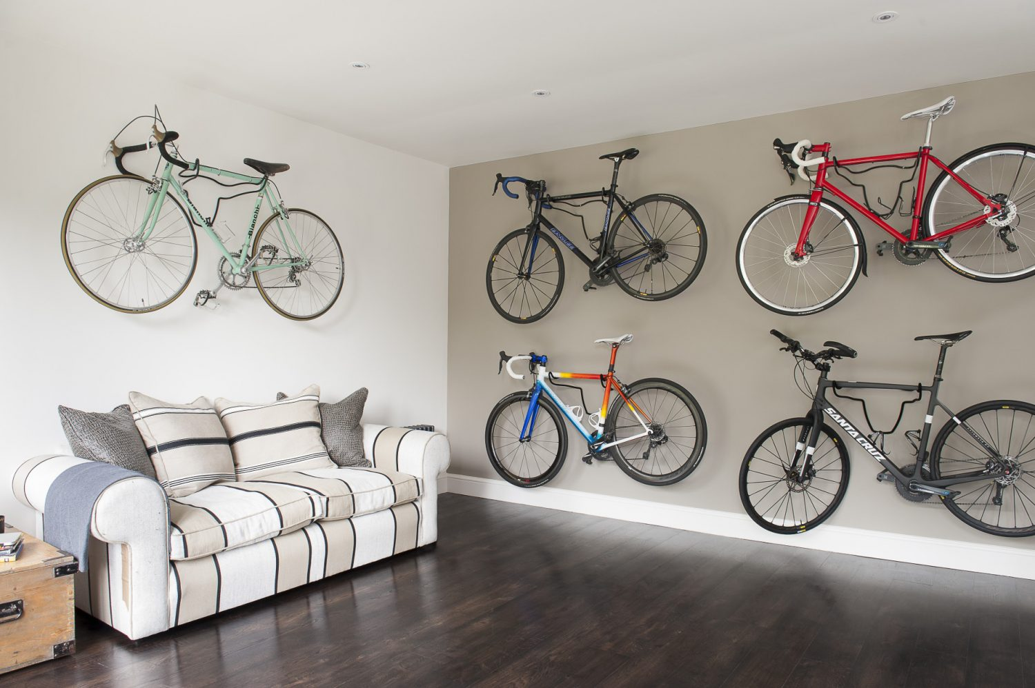 Jane and her husband Chris are keen and accomplished cyclists and the former dining room makes a perfect bike store, as well as being a multi-purpose family space