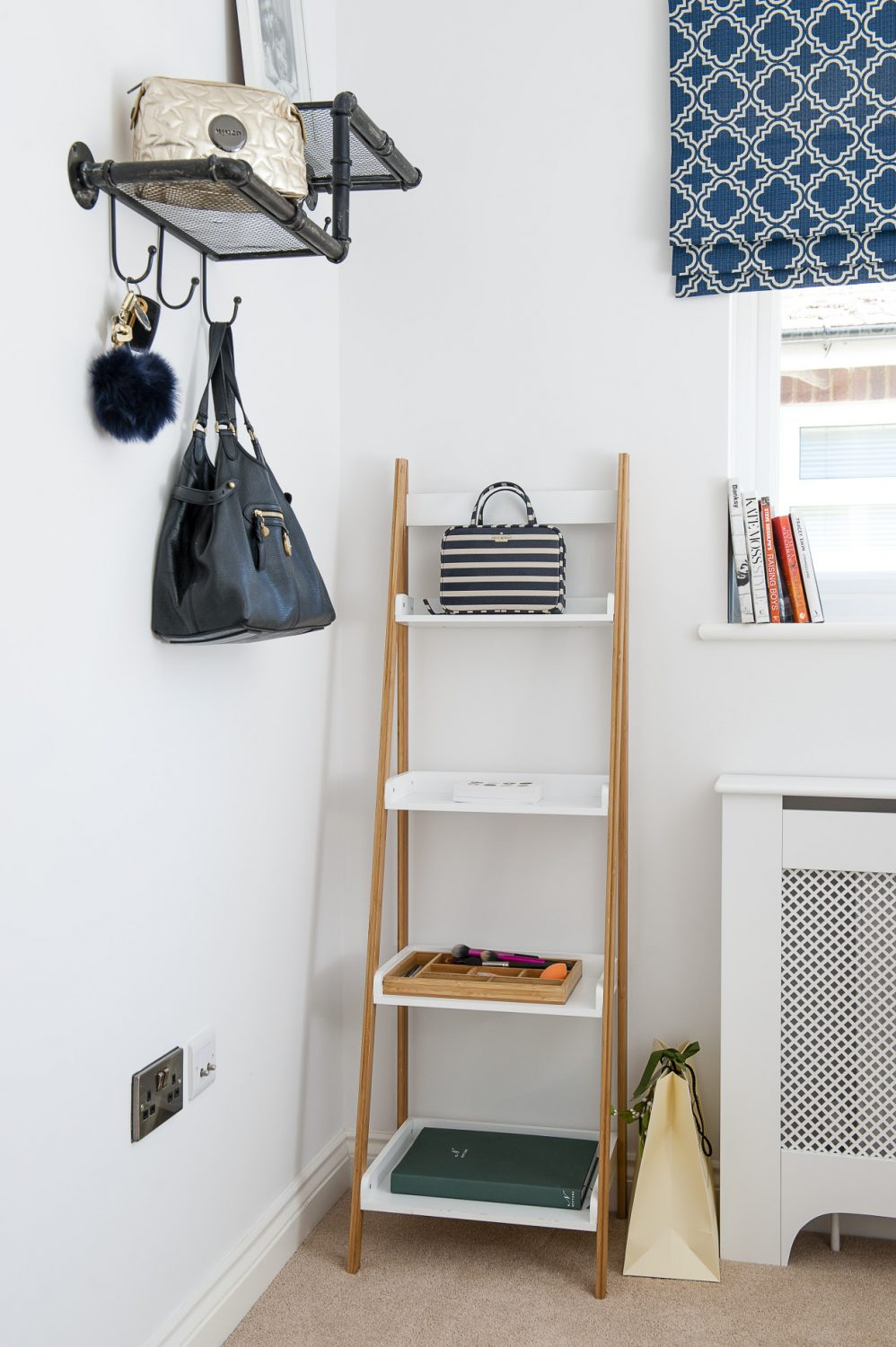 Jenna's study and 'boudoir' typifies her clutter-free style, with her things neatly stored in a ladder shelf from Mocka.
