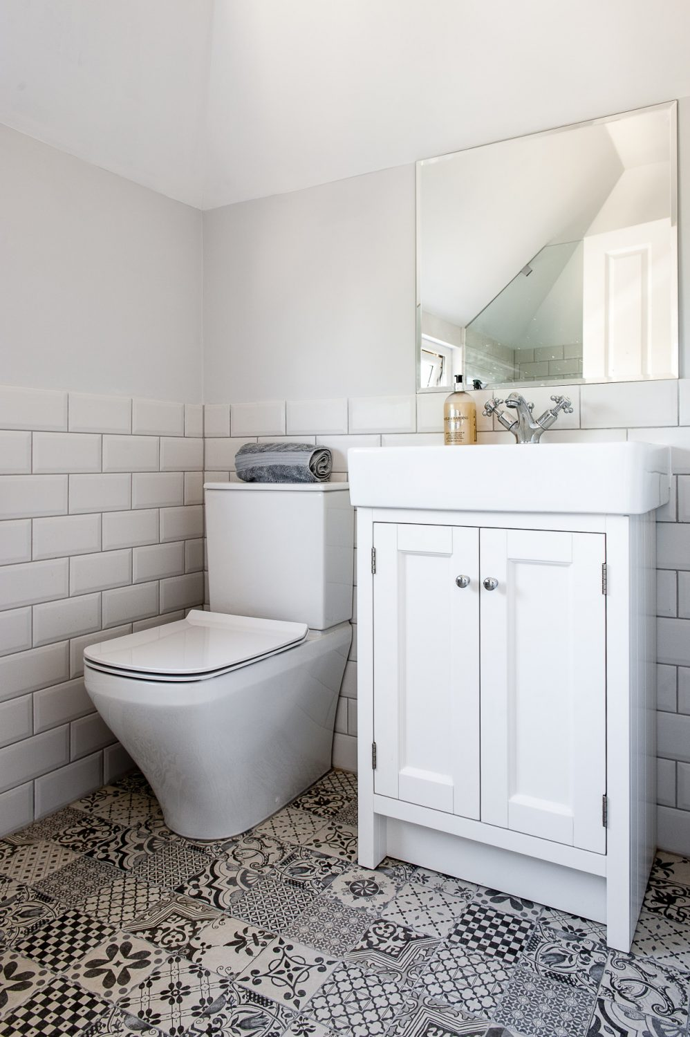 The vanity unit in the guest bathroom upstairs was also built by Stonewood. The floor tiles are from Direct Tile Warehouse in Cardiff