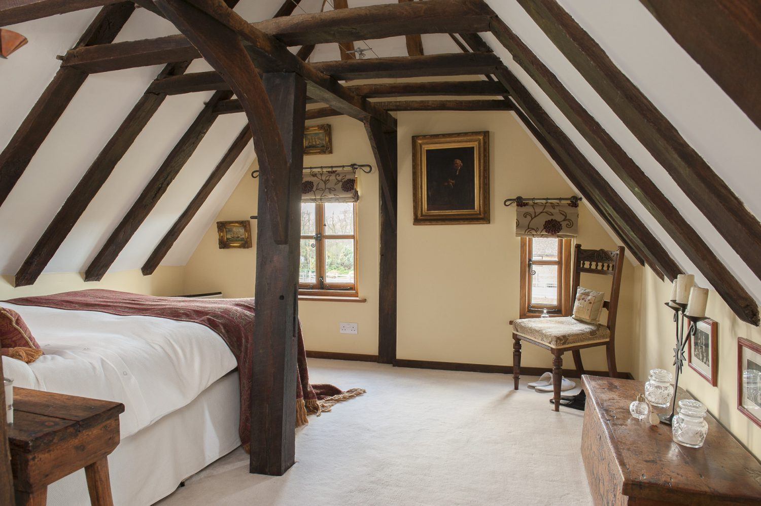 The cosy attic bedroom, with a newly fitted en suite is reached via steep 'paddle stairs', as sometimes seen on yachts