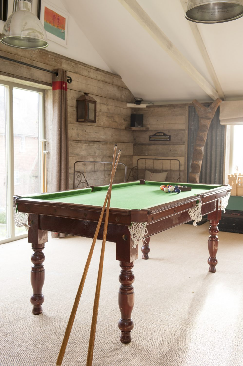 The pool table in the den