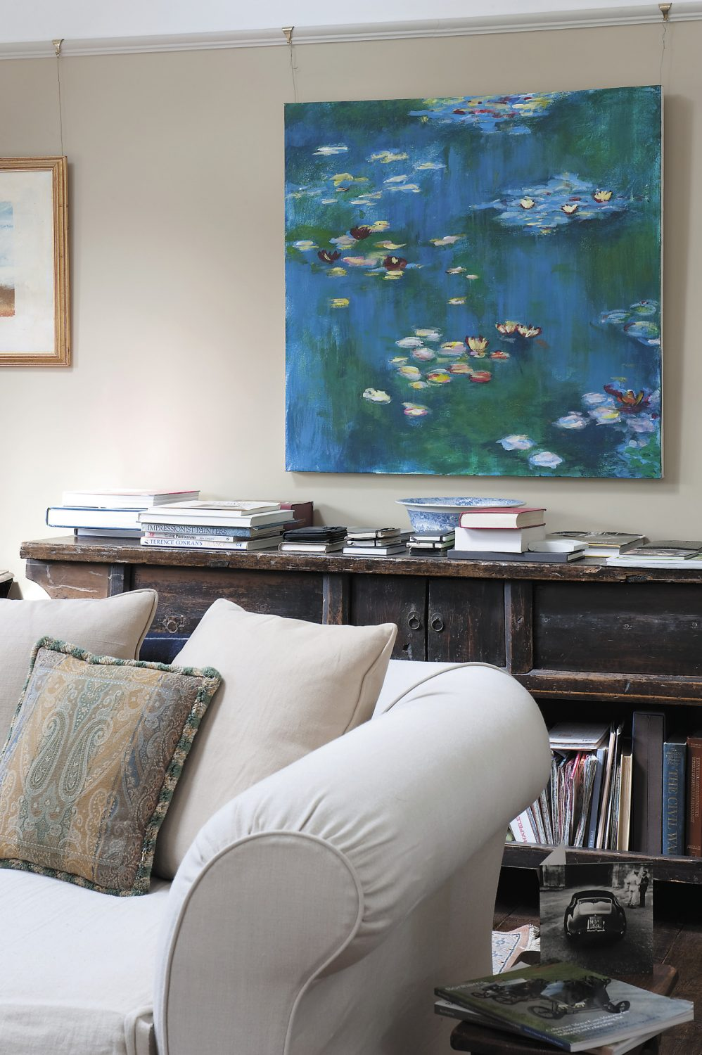 The painting of water lilies was bought from a friend of Mary's daughter who had completed it for her art A Level