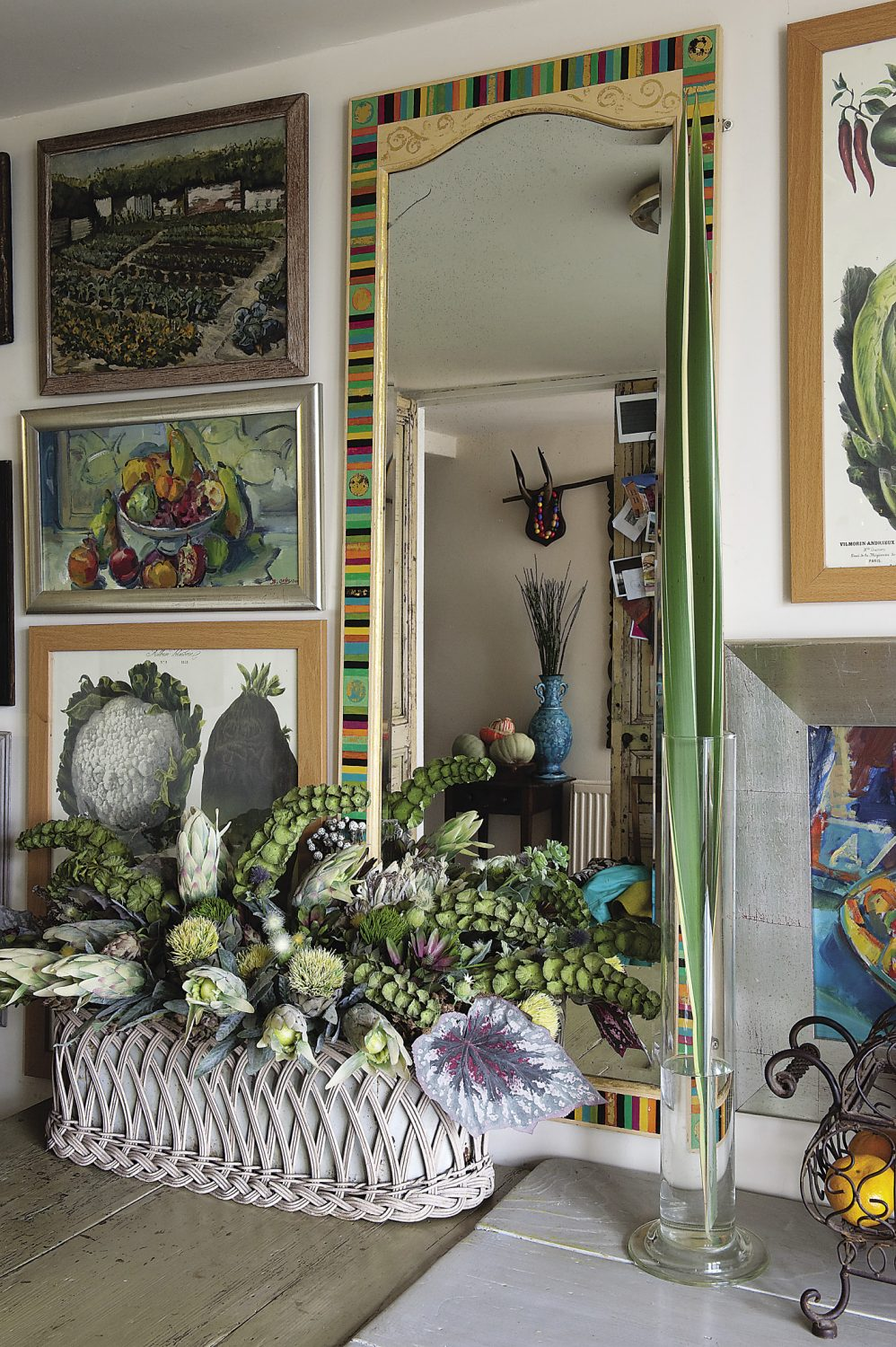Helen is an avid collector, and her professional eye for display is evident throughout the house