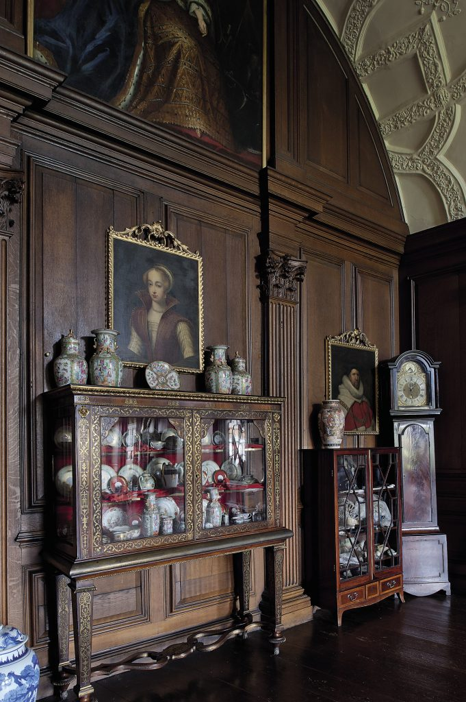 The State Drawing Room was constructed in the reign of Elizabeth I with a fine barrel ceiling and remodelled in Queen Anne's time with panelled walls and carved oak pilaster capitals