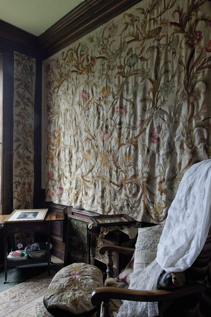 There are more fine textiles in another small side room where the walls display crewelwork hangings created by the Hon. Mary Bell, daughter of Sir William and Lady Emily and who was Maid of Honour to Edward VII's Queen Alexandra.