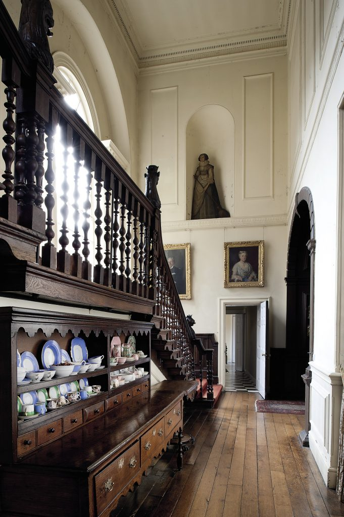 Whilst ascending the stairs, one can look back at the portraits of Guy Hart Dyke's grandparents, Sir William, who served as a minister in Disraeli's government, and Lady Emily