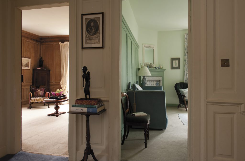 view from the landing into the family's two reception rooms