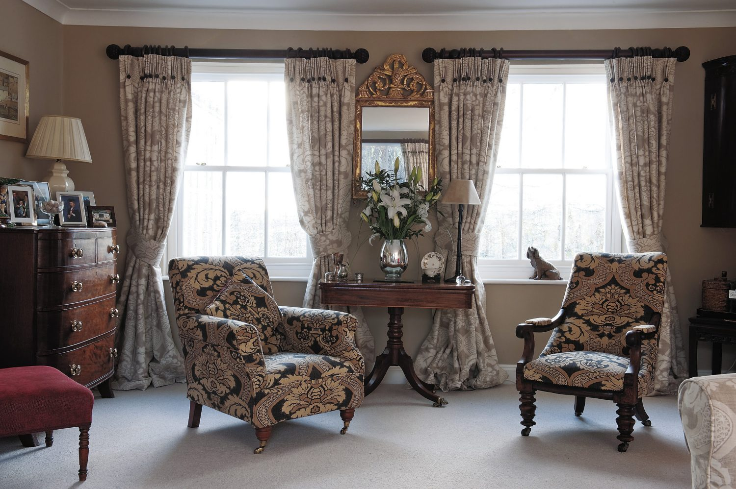 the drawing room - painted in Fired Earth's putty - is restful but sophisticated