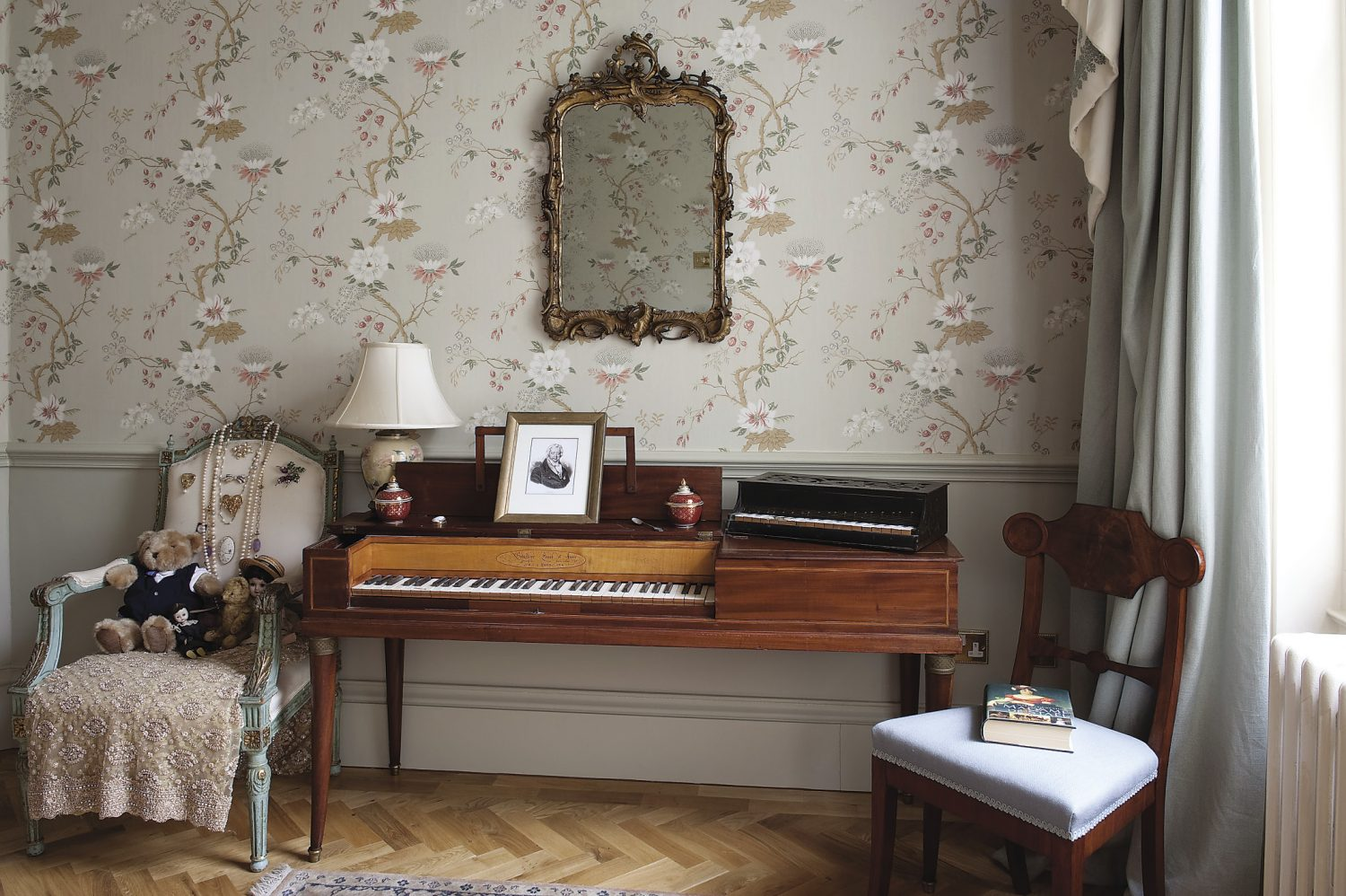 Theodora's office, complete with period paino