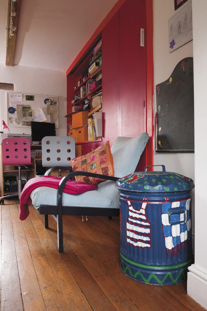 the fuschia and tangerine tones thrash it out for riotous supremacy in the playroom and someone has done a splendid job turning a dustbin into a laundry bin