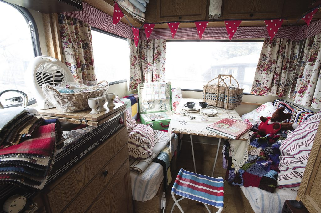 """Stella has really enjoyed restoring Bluebell the caravan, another bargain! """"I began as a production assistant on Blue Peter, so perhaps making things from recycled stuff just got into my system."""""""